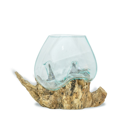 Wood Root with Blown Glass Vase Medium