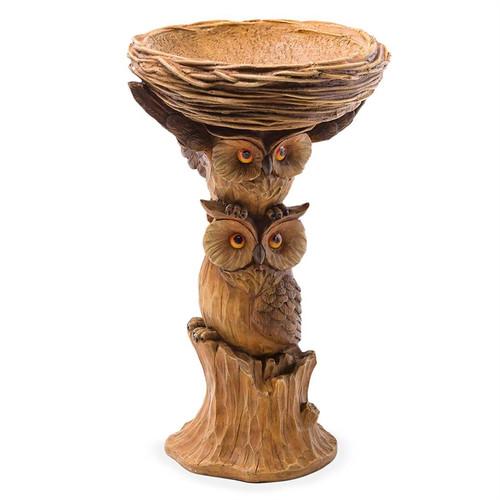 Carved Resin Owl Birdbath