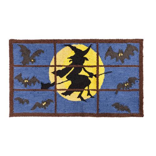 Indoor/Outdoor Halloween Flying Witch Rug