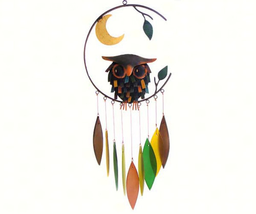 Owl with moon wind chime