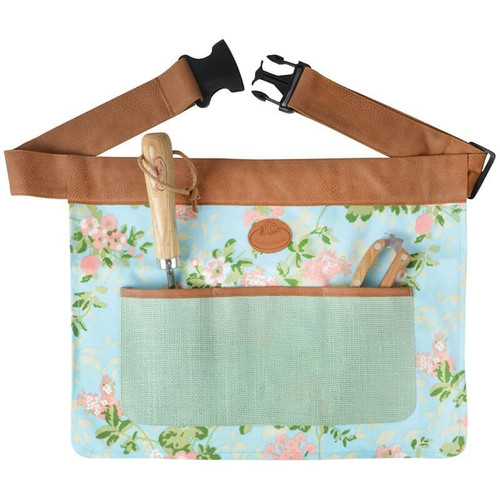 Rose print jute garden tool belt.