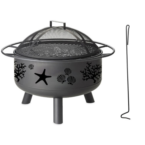 Coral And Shell Metal Fire Pit
