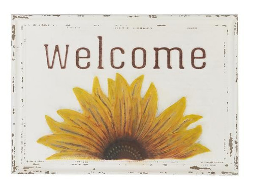 """Embossed Sunflower """"Welcome"""" Wall Decor"""