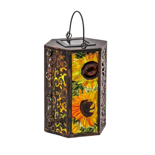 Fall Sunflower Glass Solar Lantern