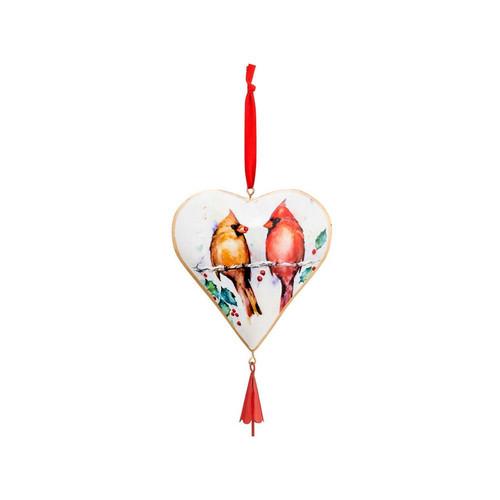 Winter Cardinals Heart Ornament