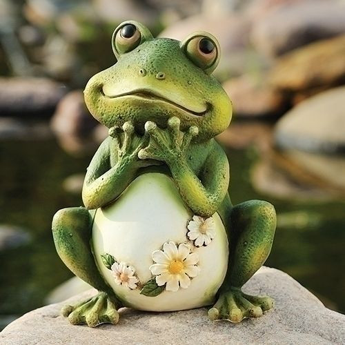 Frog Statue With Daises