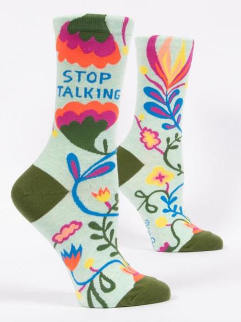 Stop Talking Blue Q Crew Socks