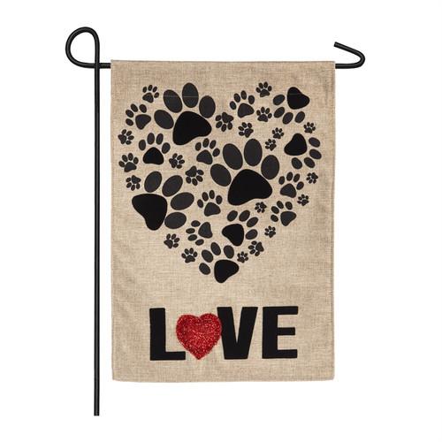 Paw Prints Heart Garden Flags