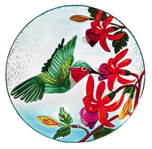 Hummingbird Flutter Glass Birdbath