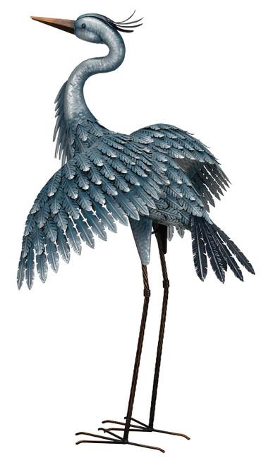 Metallic Blue Heron Wings Out
