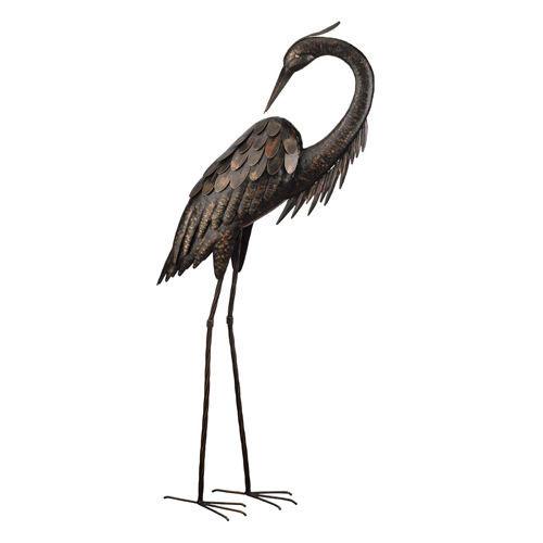 Bronze Heron Head Turned
