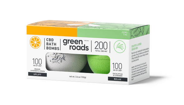 200mg Uplift & Relax CBD Bath Bomb Duo by Green Roads