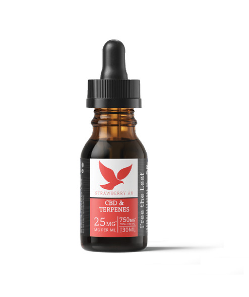 Terpene Infused OIl with 750mg CBD by Free the Leaf - Strawberry AK
