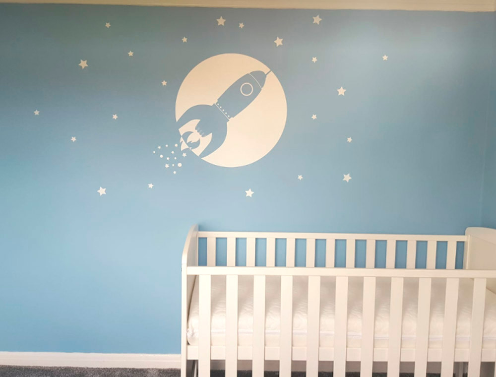 space rocket wall sticker white