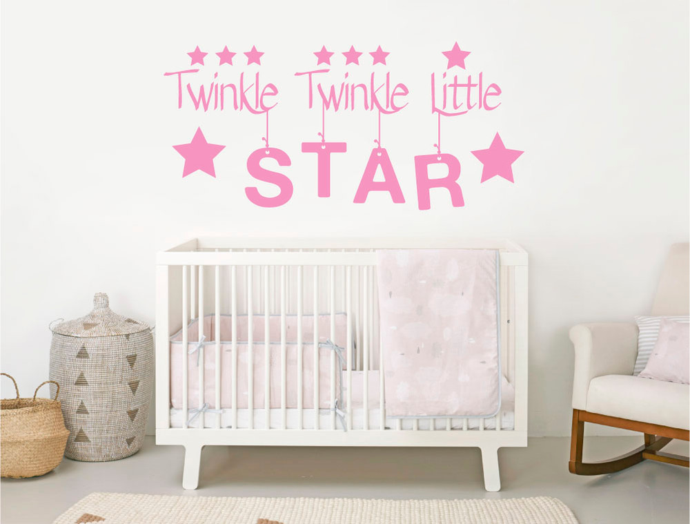 twinkle twinkle wall sticker pink