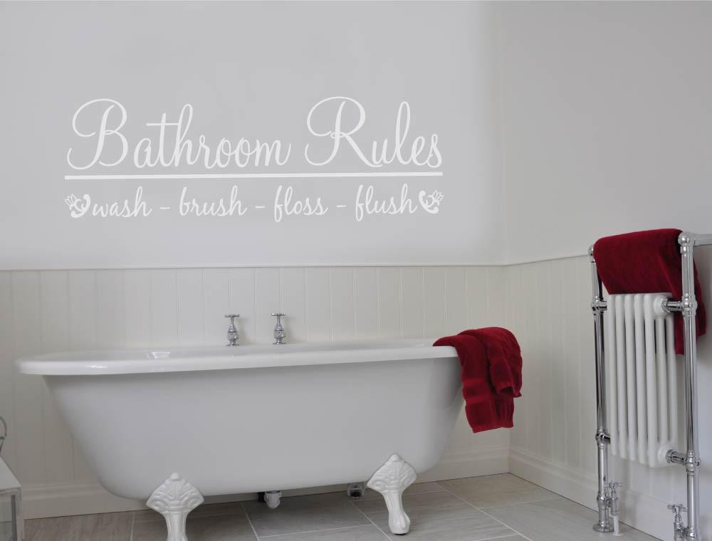 bathroom rules wall art sticker white