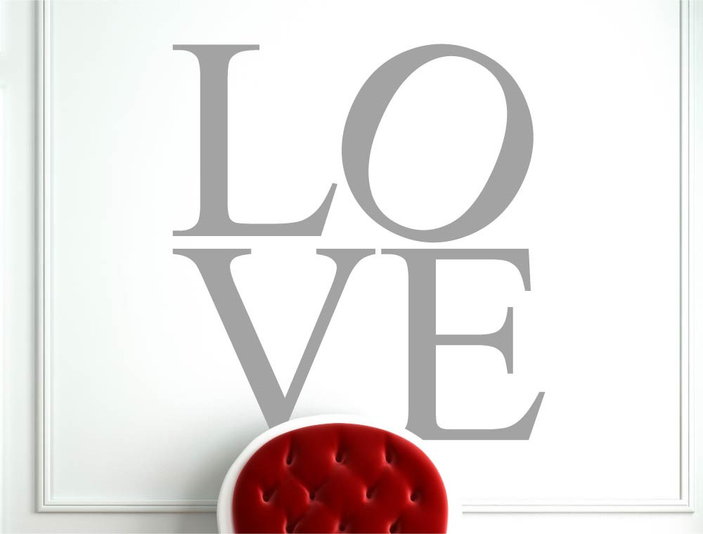 love wall letter stickers grey