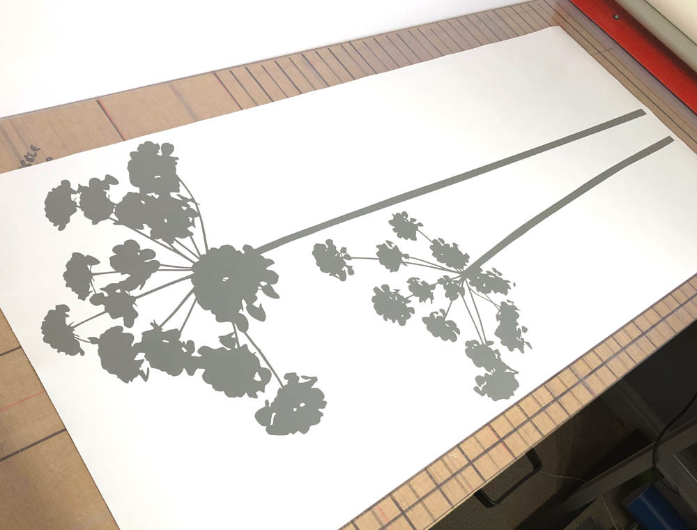 flower wall stickers grey