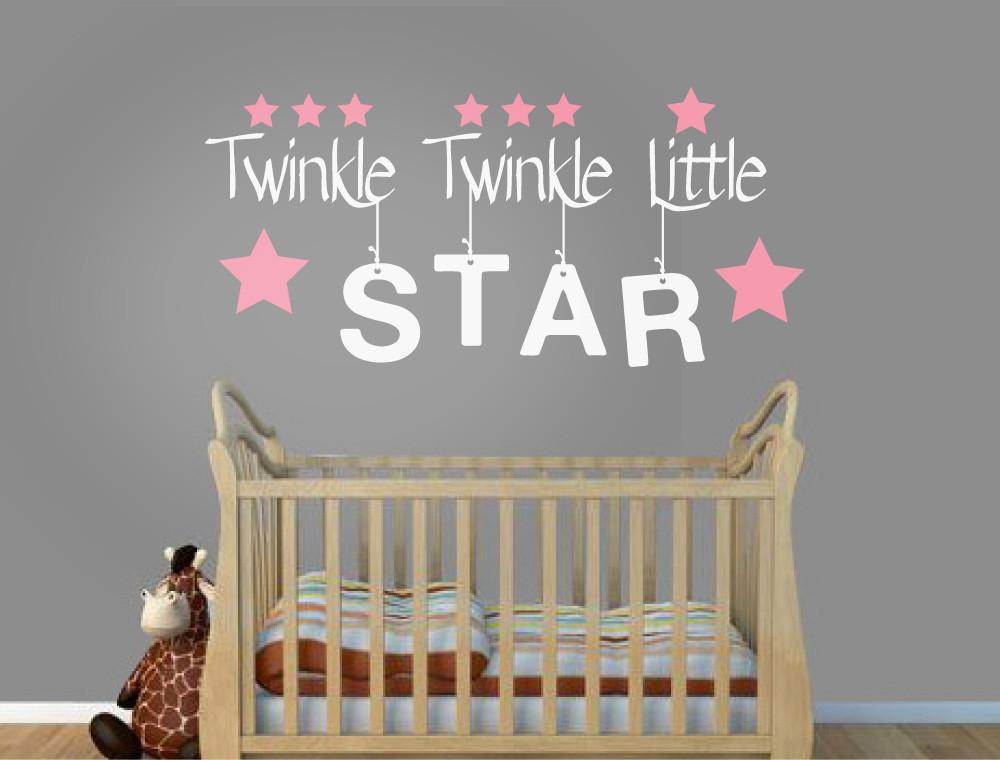 twinkle twinkle little star nursery rhyme wall sticker white text pink stars