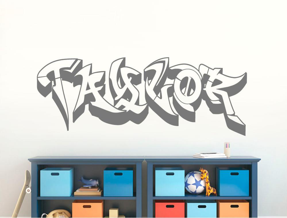 personalised graffiti wall art sticker multiple sizes