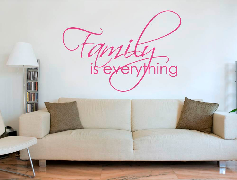 family is everything wall sticker pink