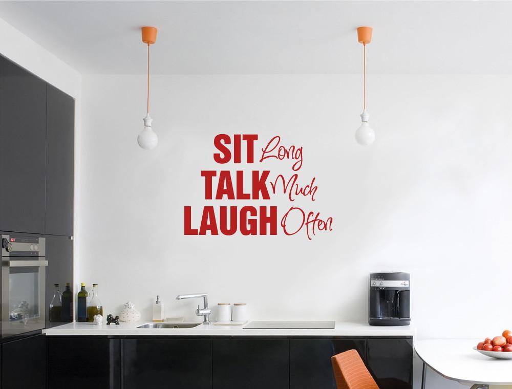 sit talk laugh wall sticker red