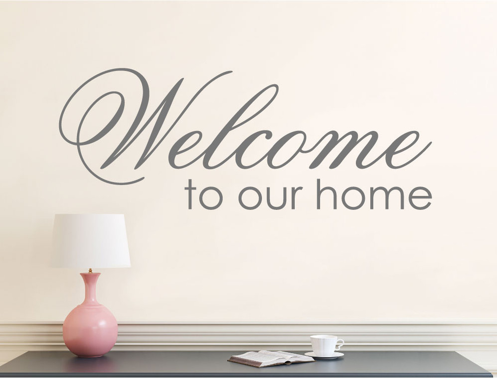 welcome wall sticker grey multiple sizes