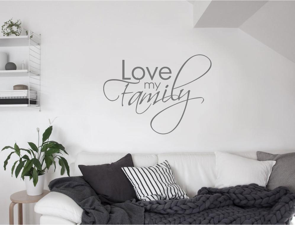 love my family wall sticker grey