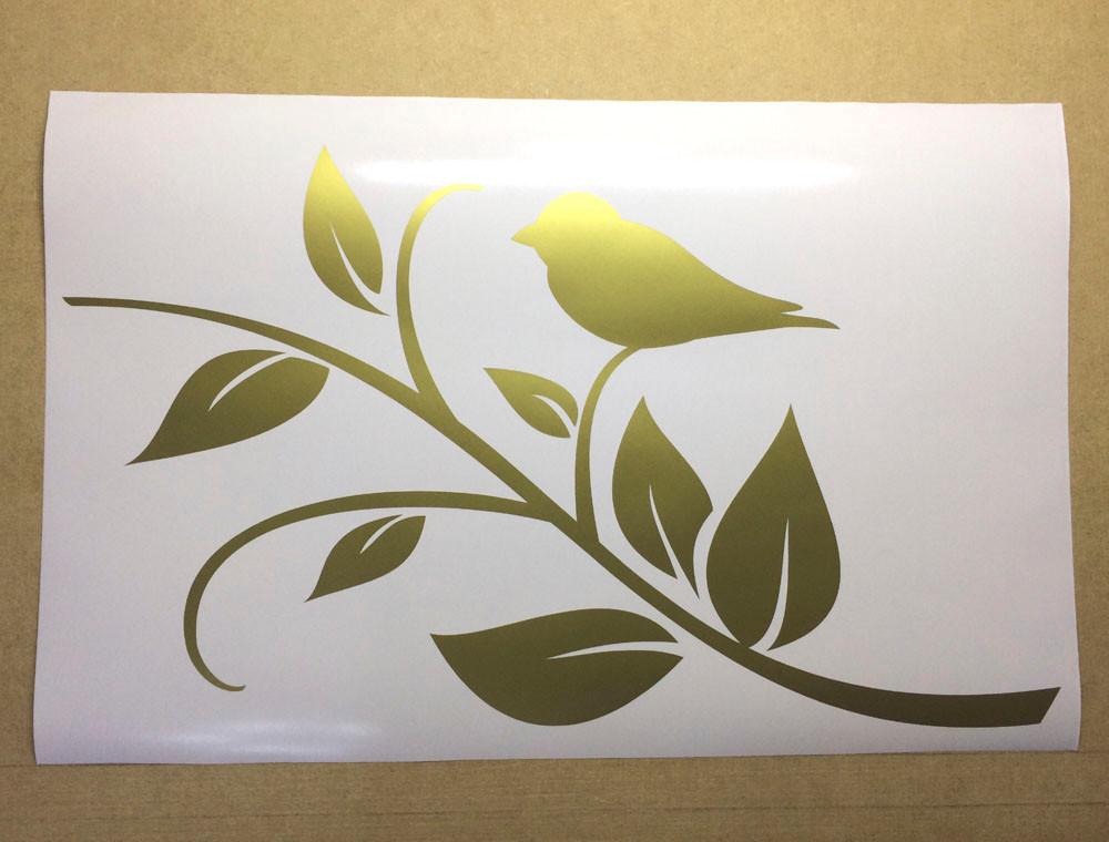 bird wall sticker gold