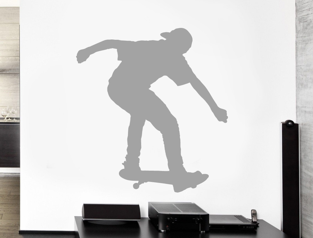 skateboard wall art sticker grey