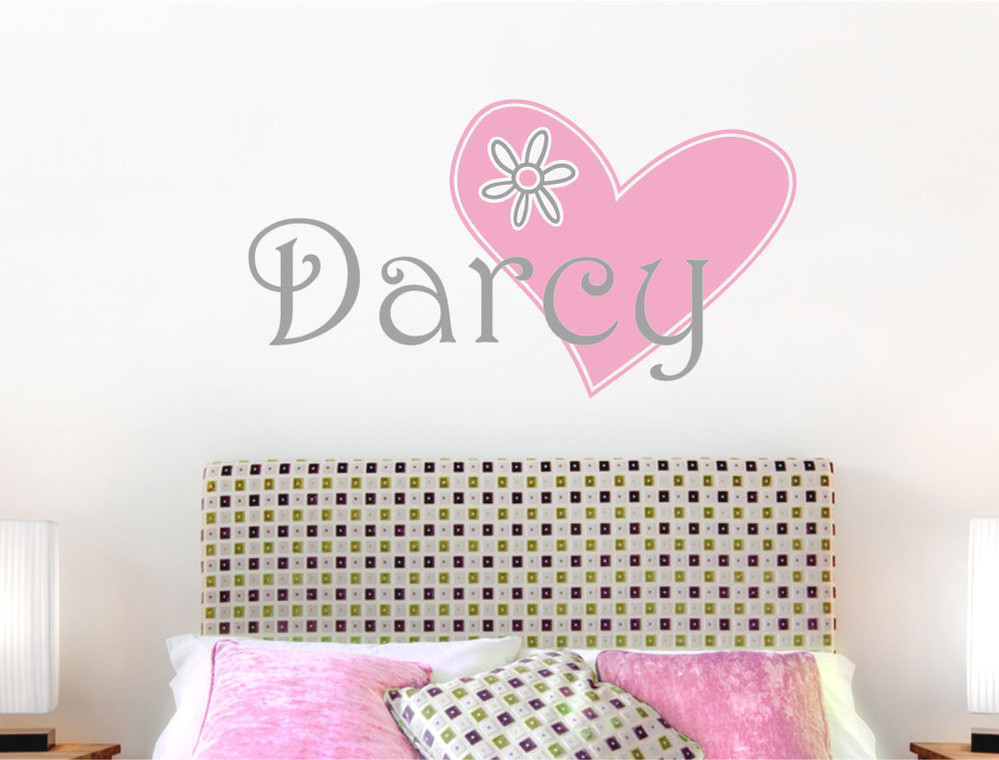 personalised heart girls wall decal