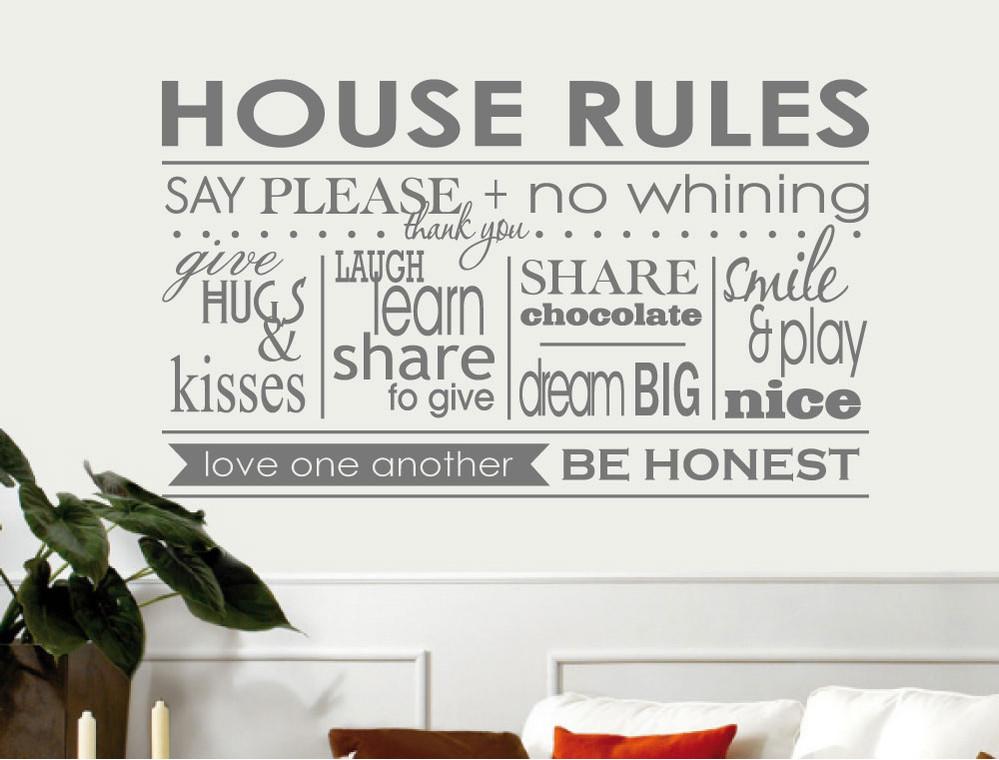 house rules wall decor sticker grey