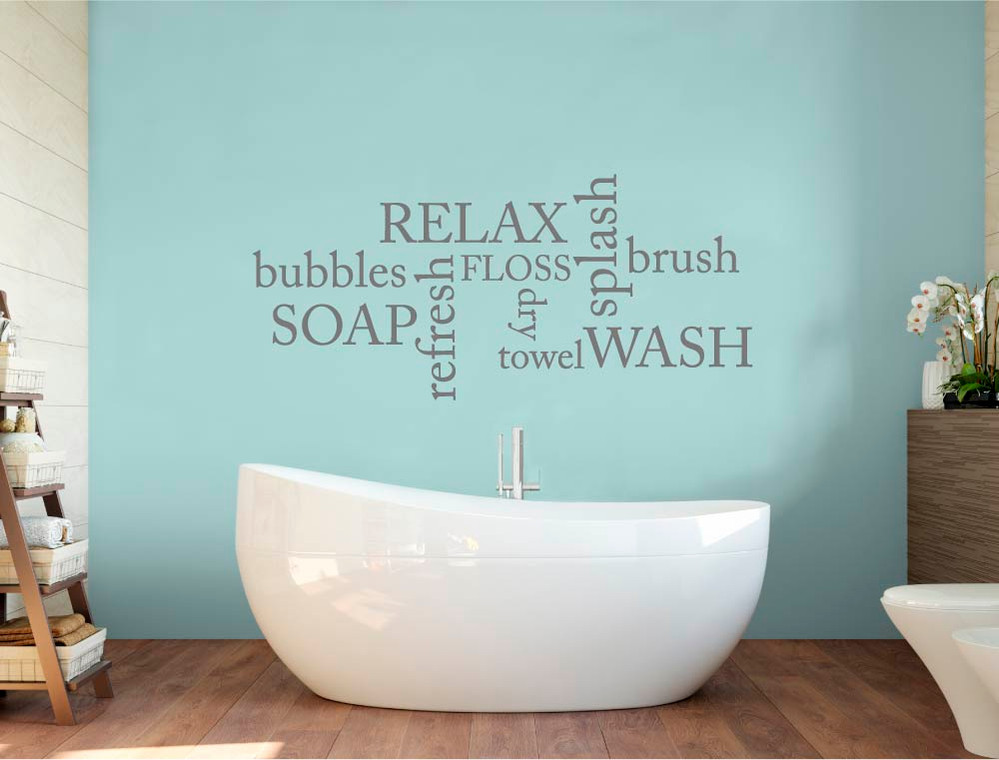 bathroom word art sticker