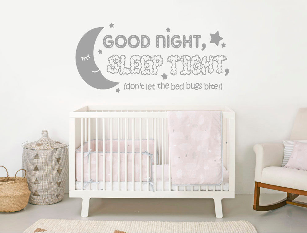 good night sleep tight wall sticker grey