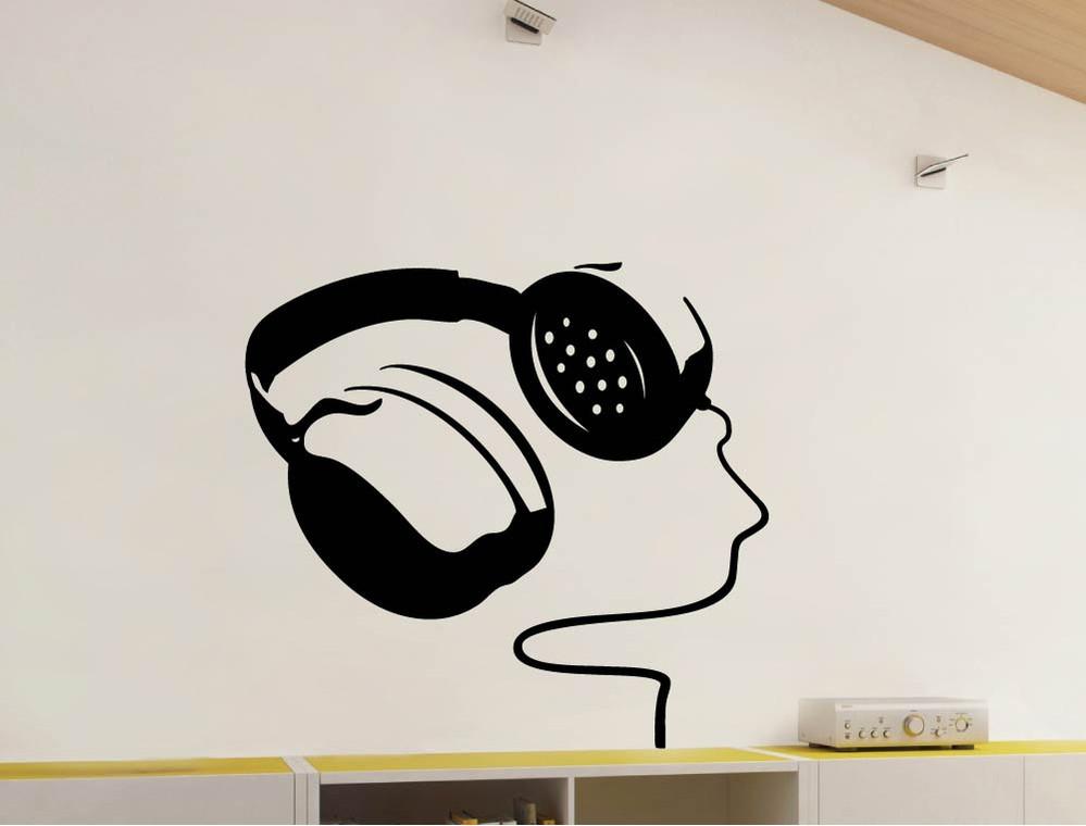 headphones wall sticker black