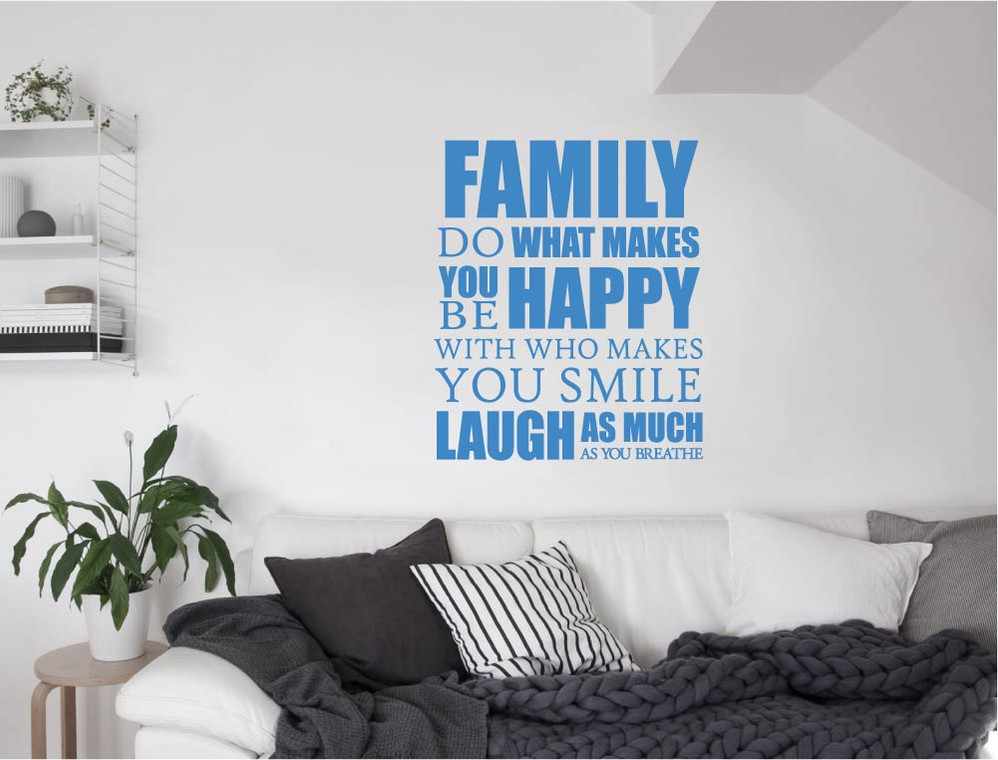 family-do-what-makes-you-happy-wall-sticker-blue