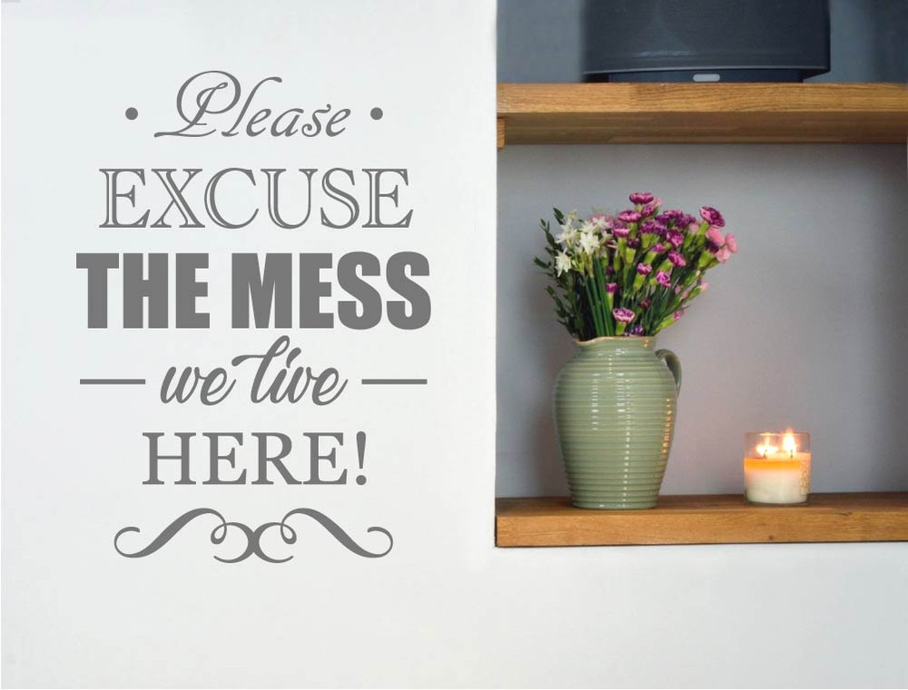 please excuse the mess wall sticker grey