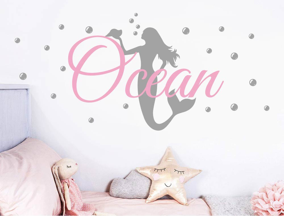 personalised mermaid wall stickers