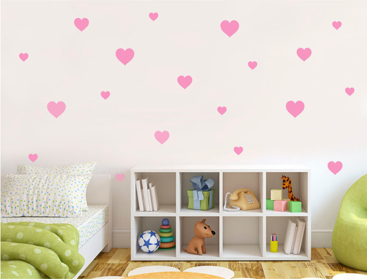 heart wall decor stickers pink c=2