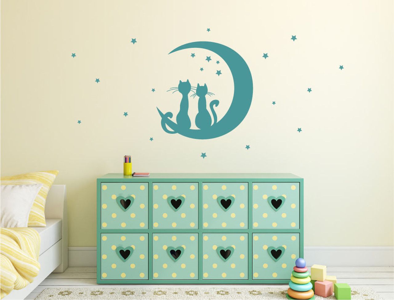 Cats stars and moon wall sticker