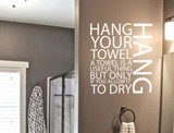hang your towel word wall sticker