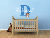 name wall stickers for nursery with monkey decal
