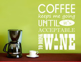 coffee quotes wall sticker white
