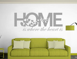 home is where the heart is wall sticker grey