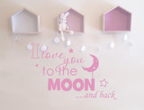 I love you to the moon and back wall sticker pink