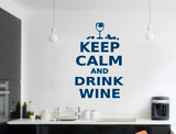 keep calm and drink wine wall art sticker blue