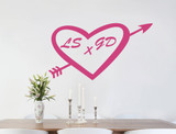 personalised love heart wall sticker pink
