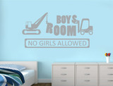 boys room no girls allowed wall sticker grey
