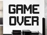 retro game over wall sticker black