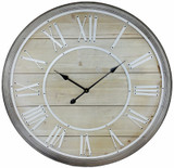 Large Rustic Wooden Wall Clock - 80cm
